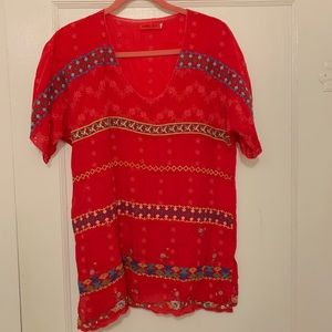 Johnny Was red embroidered tunic